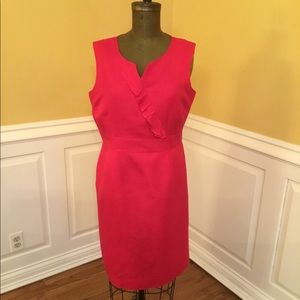 Tahari Arthur S. Levine Red Linen Dress